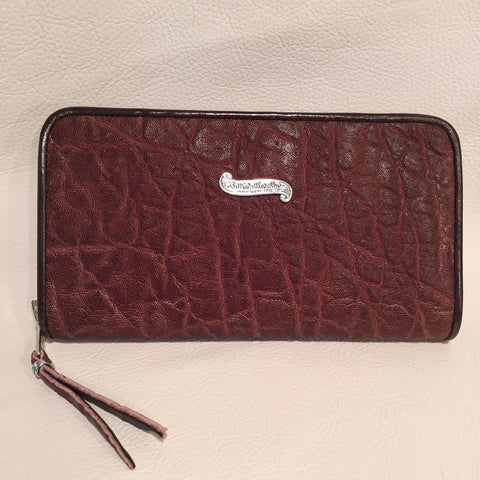 Large Zipper Wallet in Dark Brown Elephant Leather