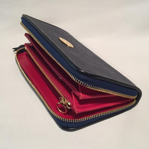 Large Zipper Wallet in Dark Navy Blue Shark Leather