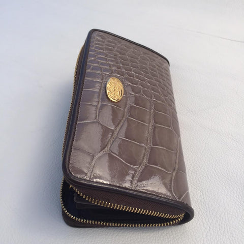 Large Zipper Wallet in Dark Tan Crocodile Leather
