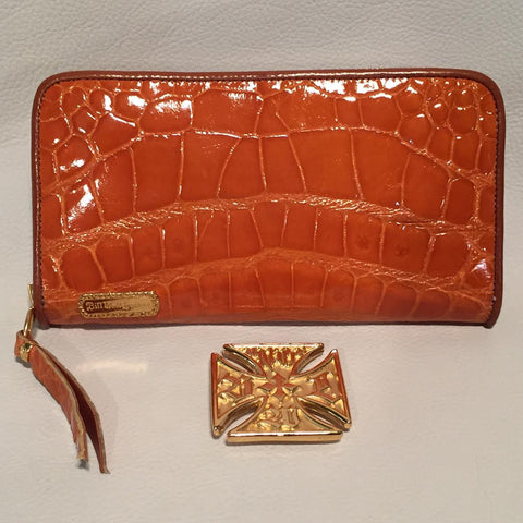 Large Zipper Wallet in Orange Crocodile Leather