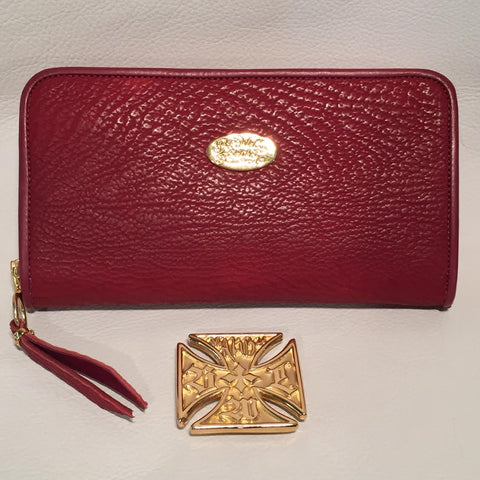 Large Zipper Wallet in Dark Red Shark Leather