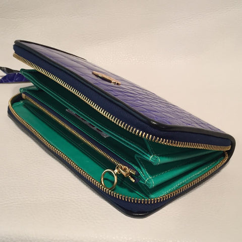 Large Zipper Wallet in Lapis Blue Crocodile Leather