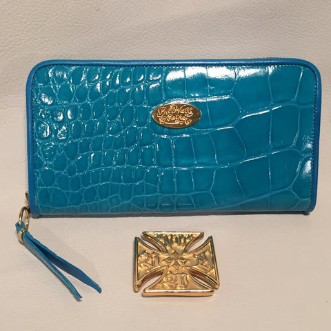 Large Zipper Wallet in Turquoise Blue Crocodile Leather