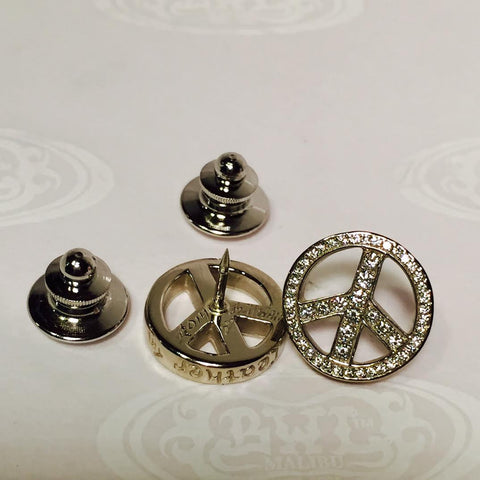Pins - Peace sign with 18K White Gold and Diamonds