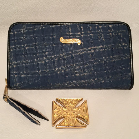 Large Zipper Wallet in Denim Blue Elephant Leather