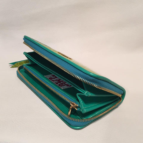 Large Zipper Wallet in Lime Green Crocodile Leather