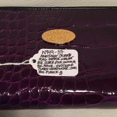 Large Zipper Wallet in Amethyst Purple Crocodile Leather