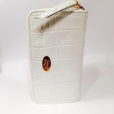 Large Zipper Wallet in White Shiny Crocodile Leather