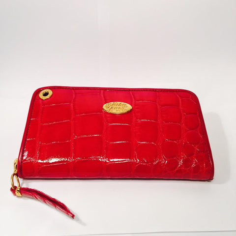 Large Zipper Wallet in Red Shiny Crocodile Leather