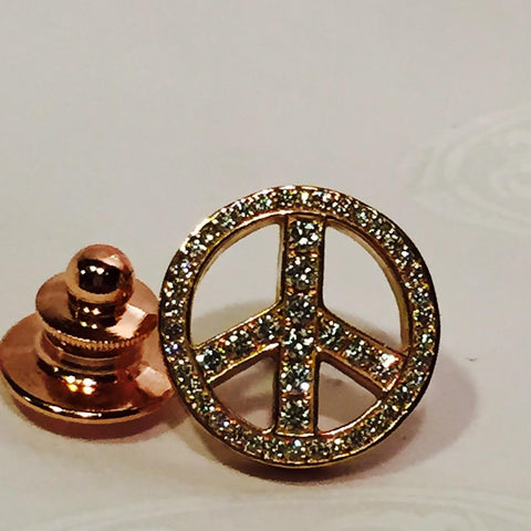 Pins - Peace Sign with 18K Rose Gold and VS1 Diamonds 50 Stones