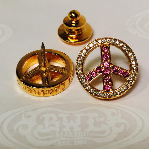 Peace sign pin with stones