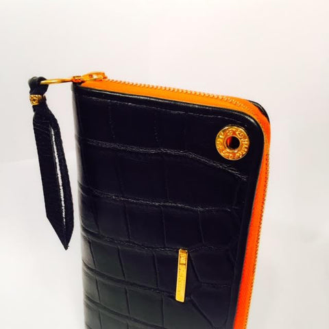 Large Zipper Wallet in Matte Black Crocodile Leather