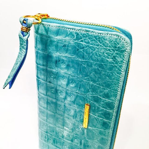 Large Zipper Wallet in Blue/Green Cayman  Leather
