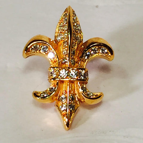 Pins - Fleur di lis pin Silver plated with stones