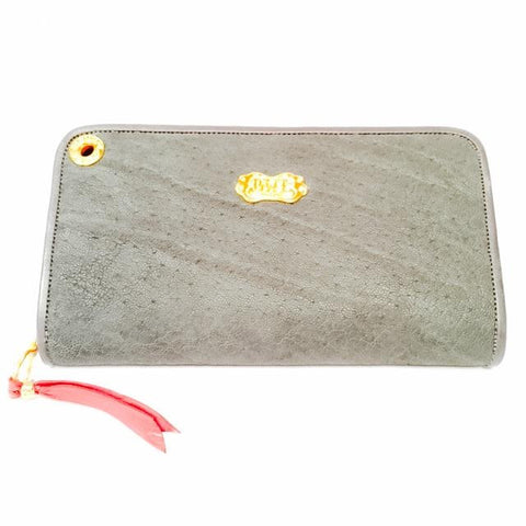 Large Zipper Wallet in Dark Grey Elephant Leather