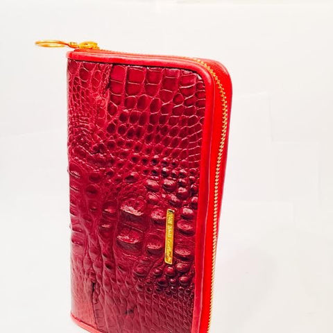 Large Zipper Wallet in Red Hornback Alligator Leather
