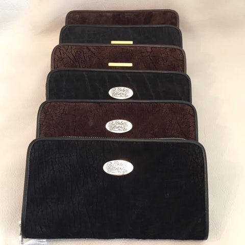 Large Zipper Wallet in Dark Black Elephant Suede Leather