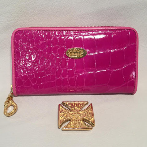 Large Zipper Wallet in Fuchsia Pink Crocodile Leather