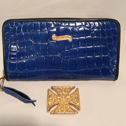 Large Zipper Wallet in Cobalt Blue Crocodile Leather