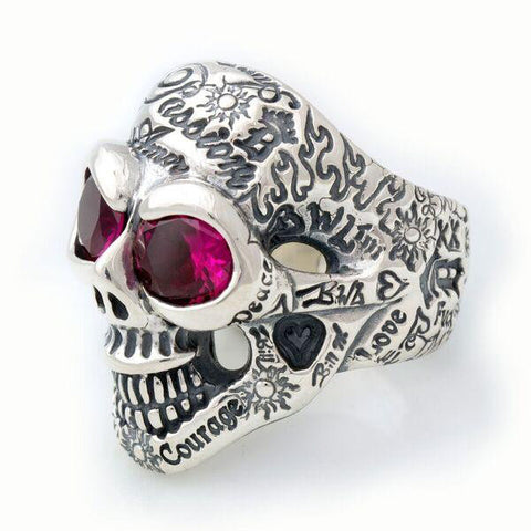Medium Graffiti Master Skull Ring w/Stones