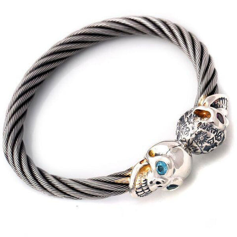 Graffiti and Smooth Vintage Skull Cable Bangle Bracelet Bill's Way
