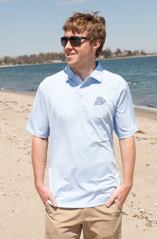 Peter Millar Custom FIL Logo Competition Stripe Jersey Polo - Cottage Blue/White