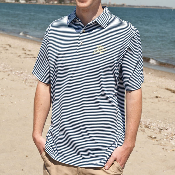 Peter Millar Custom FIL Logo Competition Stripe Jersey Polo - Navy/White