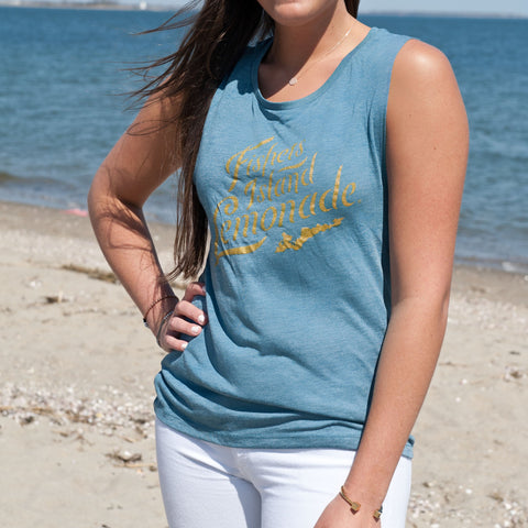 Teal and Gold FIL Muscle T-Shirt