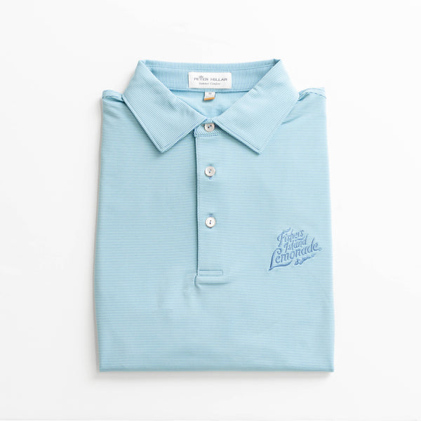 Peter Millar Custom FIL Logo Competition Stripe Jersey Polo - Iberian Blue/White