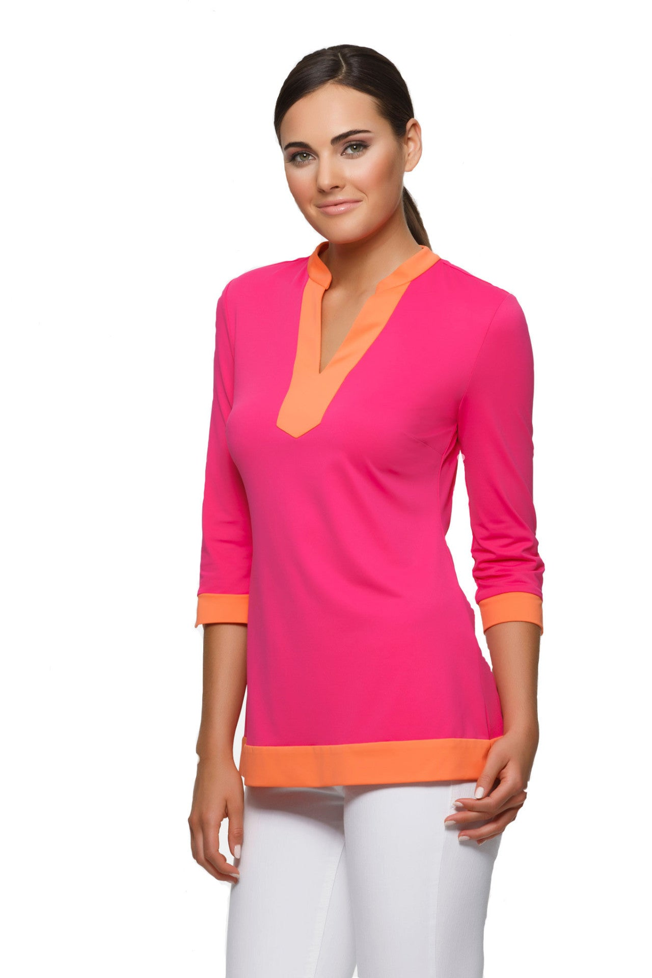Ella Tunic in Pink and Orange Color Block - Rulon Reed