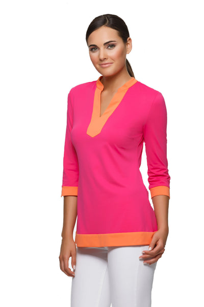Ella-womens-colorblock-tunic-with-three-quarter-sleeve-in-pink-with-orange-trim-by-Rulon-Reed-front-view
