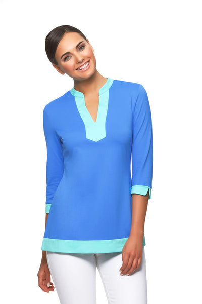 Ella-womens-three-quarter-sleeve-v-neck-colorblock-tunic--in-blue-with-sea-trim-by-Rulon-Reed-front-view