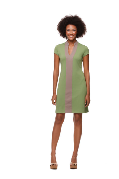 Avery Dress in Army Green and Khaki Color Block - Rulon Reed