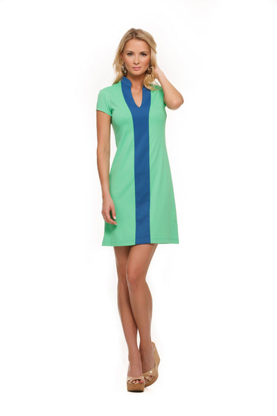 Green and blue color block dress for women with cap sleeves