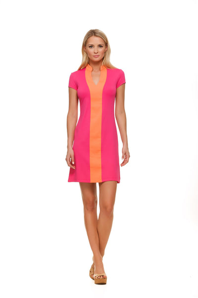 Pink and Orange color block cap sleeve dress by Rulon Reed