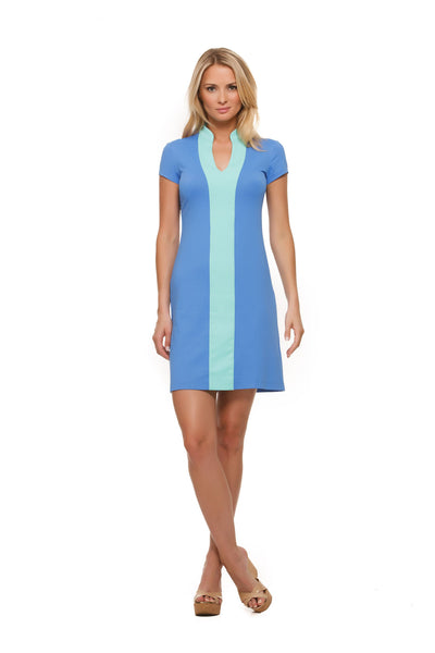 Avery womens cap sleeve v-neck colorblock dress in blue with sea trim by Rulon Reed front view