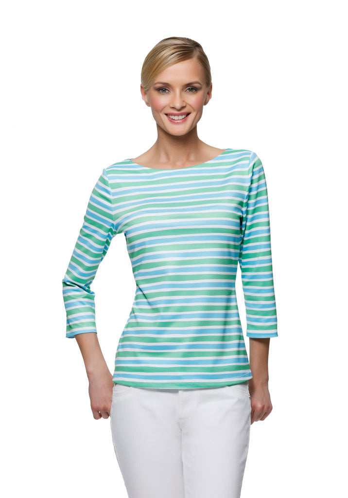 Berkeley womens three quarter sleeve boatneck top in blue and green stripe by Rulon Reed front view
