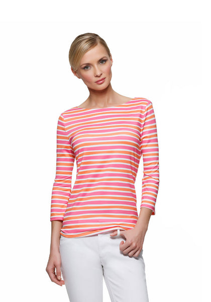 Women's Tops and Tunics:  Sailor Stripes in Pink and Orange