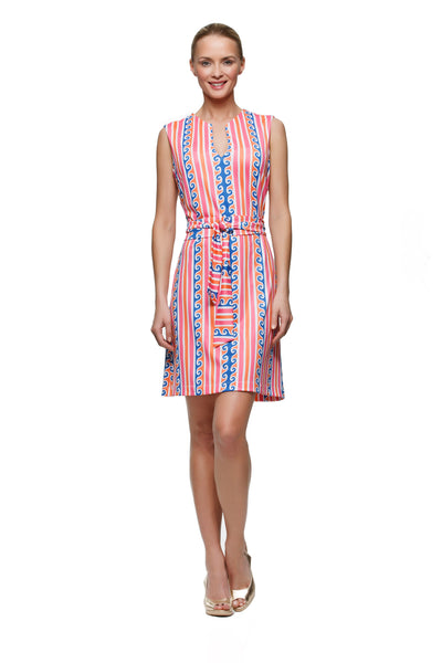 Darcy Womens sleeveless   v-neck dress in pink and orange scroll  by Rulon Reed front view