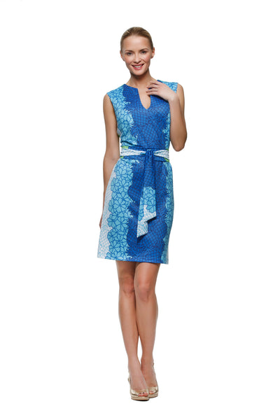 Darcy womens sleeveless dress with matching belt  in pineapple print by Rulon Reed front view