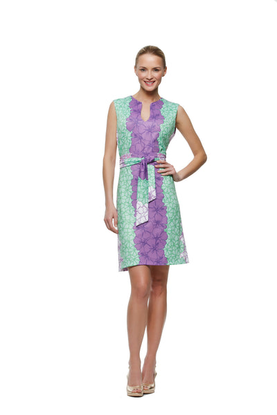 Darcy womens sleeveless v-neck  dress with matching belt in purple and green hibiscus by Rulon Reed  front view
