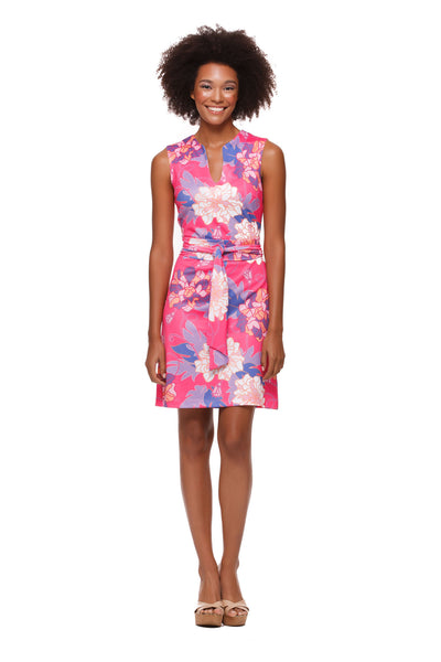 Darcy Dress for Women in Pink Hawaiian Print by Rulon Reed