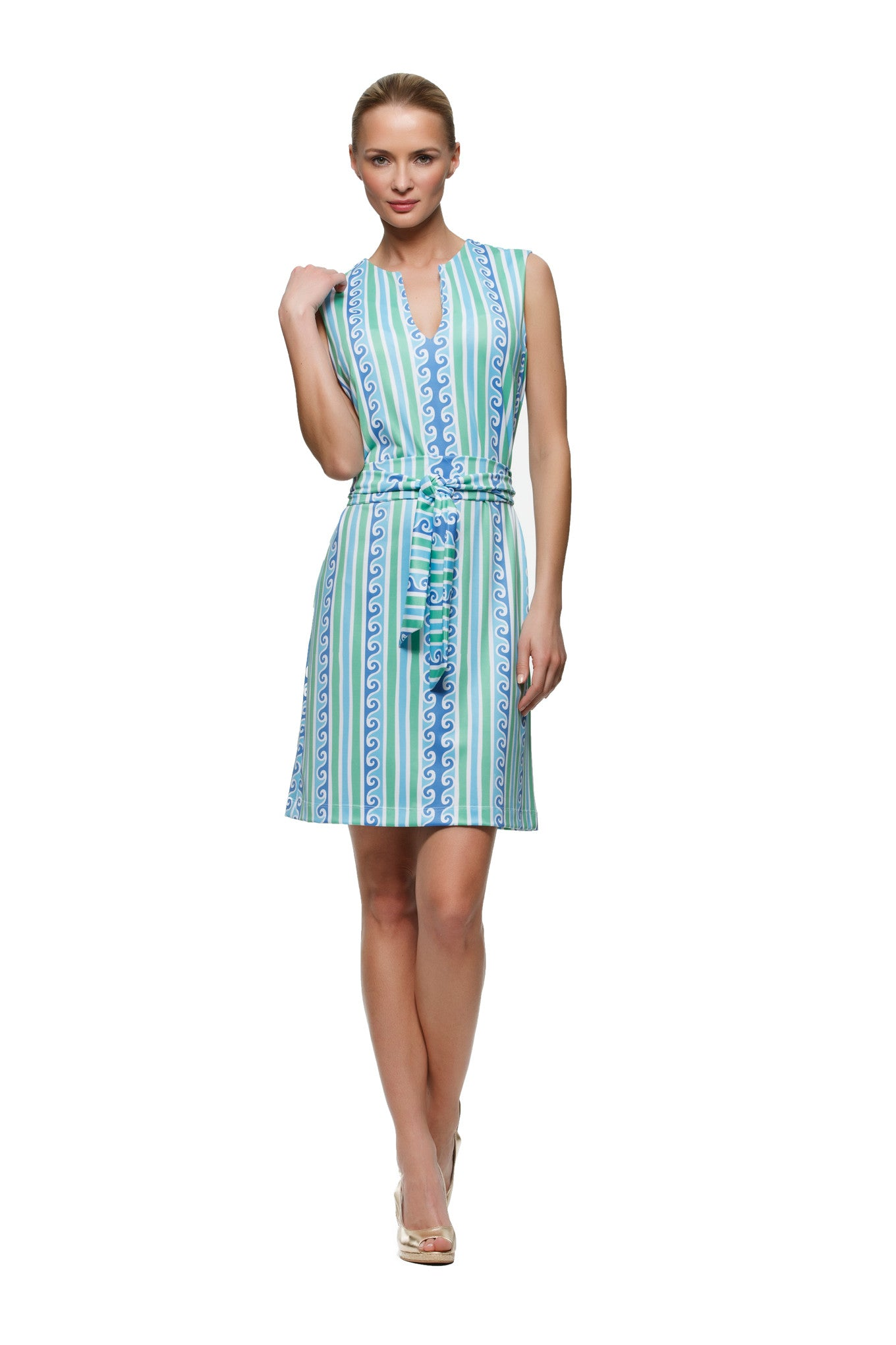 Darcy womens sleeveless v-neck dress with matching belt in blue and green scroll by Rulon Reed front view