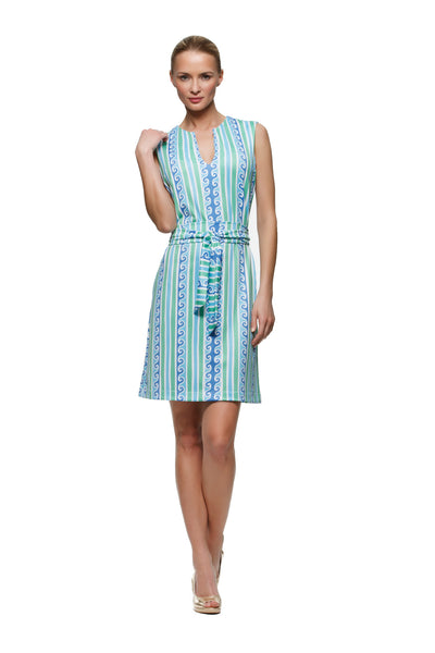 Darcy Dress in Blue Green Scroll - Rulon Reed