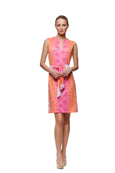 Darcy womens sleeveless v-neck dress with matching belt in orange and pink hibiscus by Rulon Reed front view