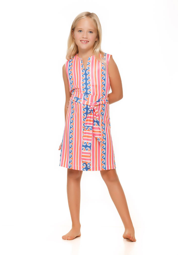 Heidi Dress in Pink and Orange Scroll - Rulon Reed