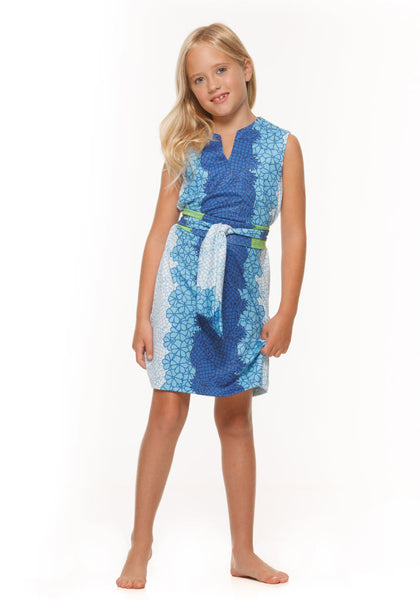 Heidi Girls' Sleeveless Dress in Pineapple by Rulon Reed front view