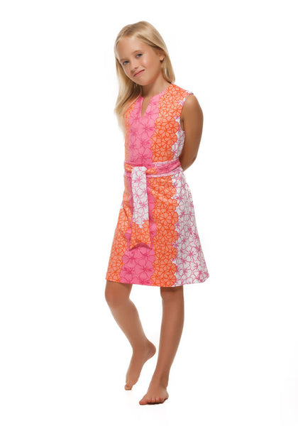 Heidi Girls' Dress in Pink and Orange Hibiscus by Rulon Reed front view