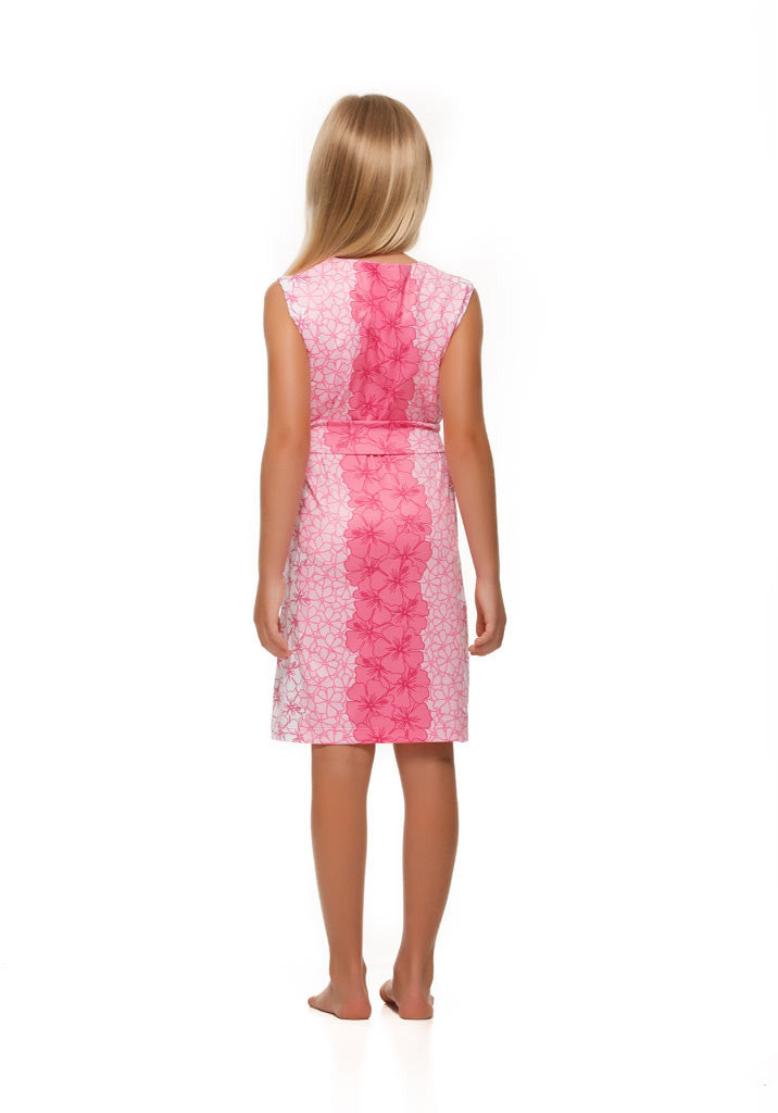 Heidi Dress in Pink and Orange Hibiscus - Rulon Reed