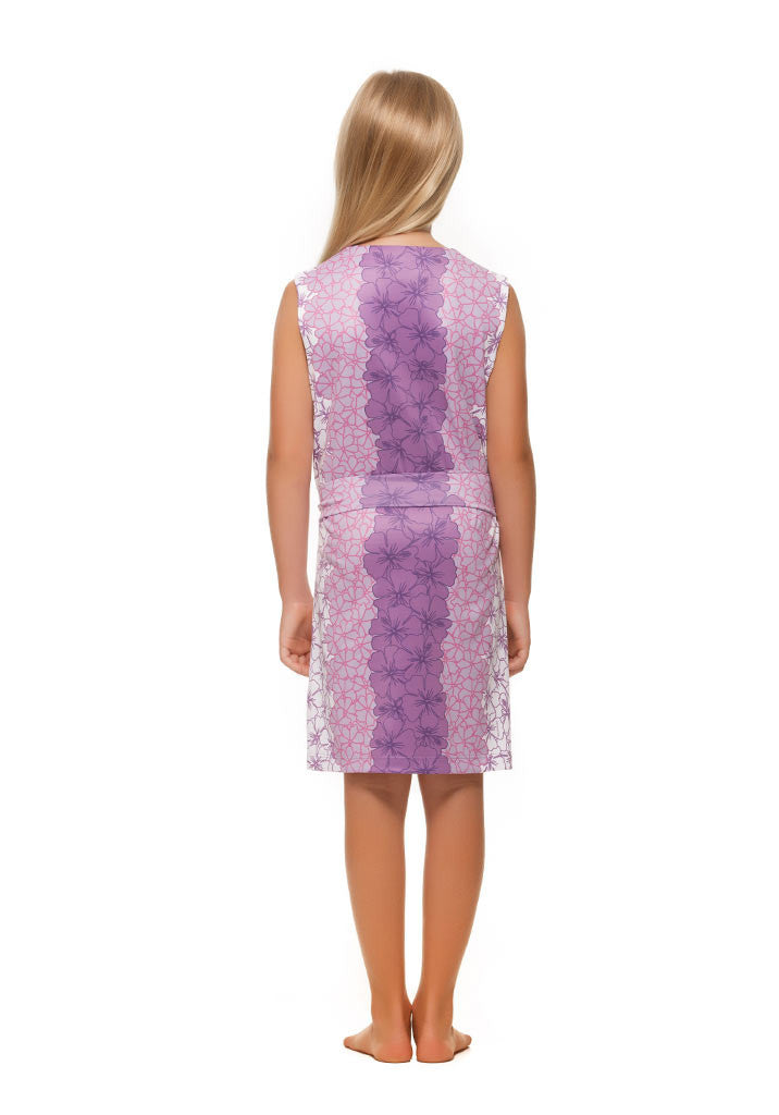 Heidi Girls Dress in Purple and Green Hibiscus by Rulon Reed front view
